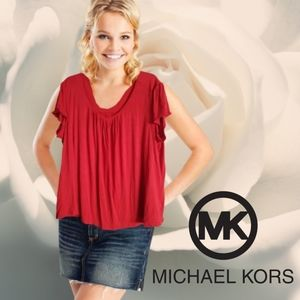 Michael kors red pleated short sleeve top size 3x